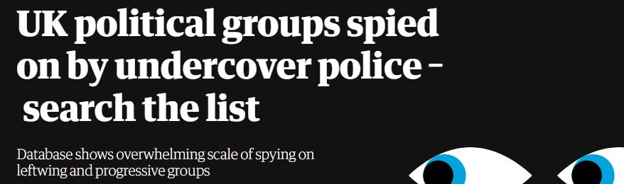 The Guardian, list of groups spied on